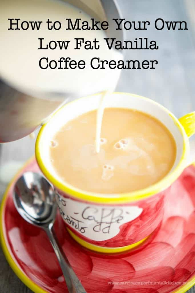 Learn how to make your own low fat vanilla coffee creamer at home with three simple ingredients.
