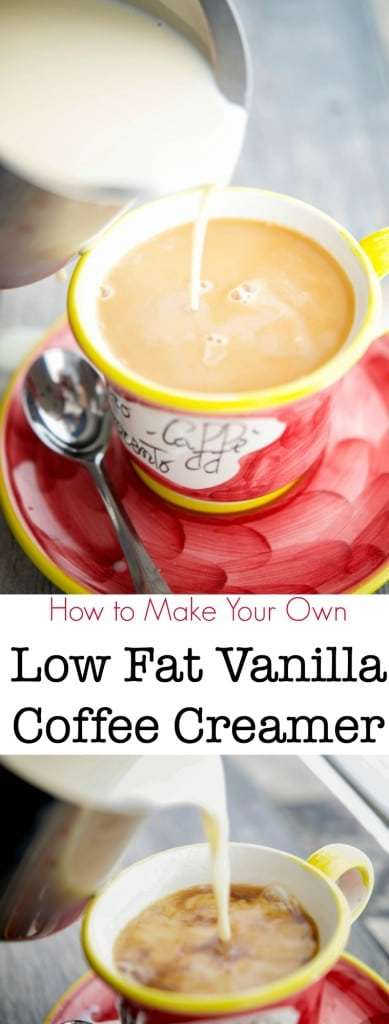 Learn how to make your own low fat vanilla coffee creamer at home.