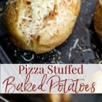 Pizza Stuffed Baked Potatoes made with your favorite sauce and Mozzarella cheese are so versatile, you can serve them for any occasion!