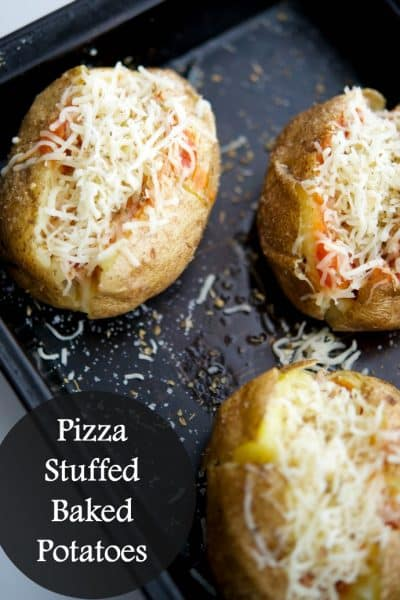 Pizza Stuffed Baked Potatoes are so versatile, you can serve them for dinner, an afternoon snack or for game day fun.