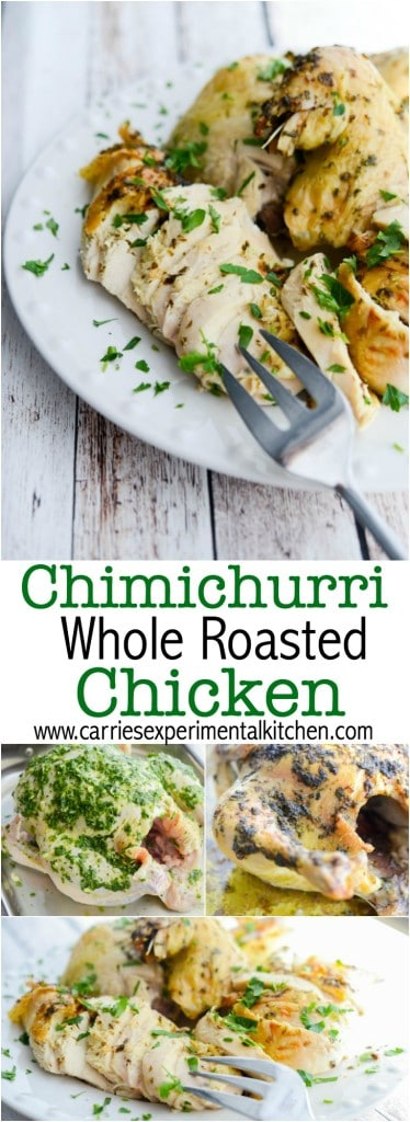 Chimichurri is a combination of fresh herbs, vinegar and oil and adds a light flavor to this whole roasted chicken.