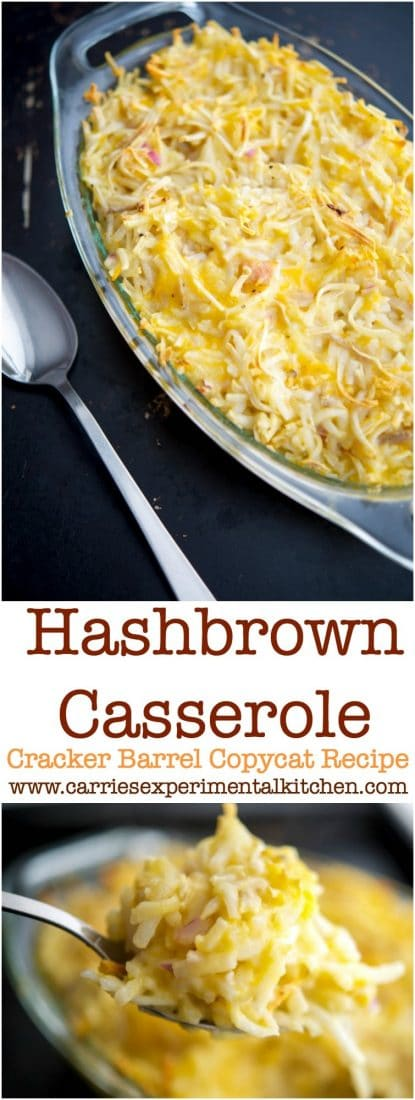 Learn how to make Cracker Barrel's Hashbrown Casserole at home with five simple ingredients. Perfect for breakfast or a weeknight side dish! #potatoes #breakfast #sidedish