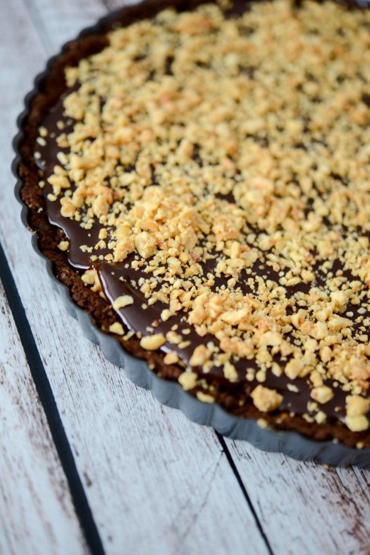 No Bake Peanut Butter Tart with Dark Chocolate Ganache