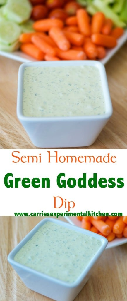Serve this Semi-Homemade Green Goddess Dip with raw vegetables or as a salad dressing.