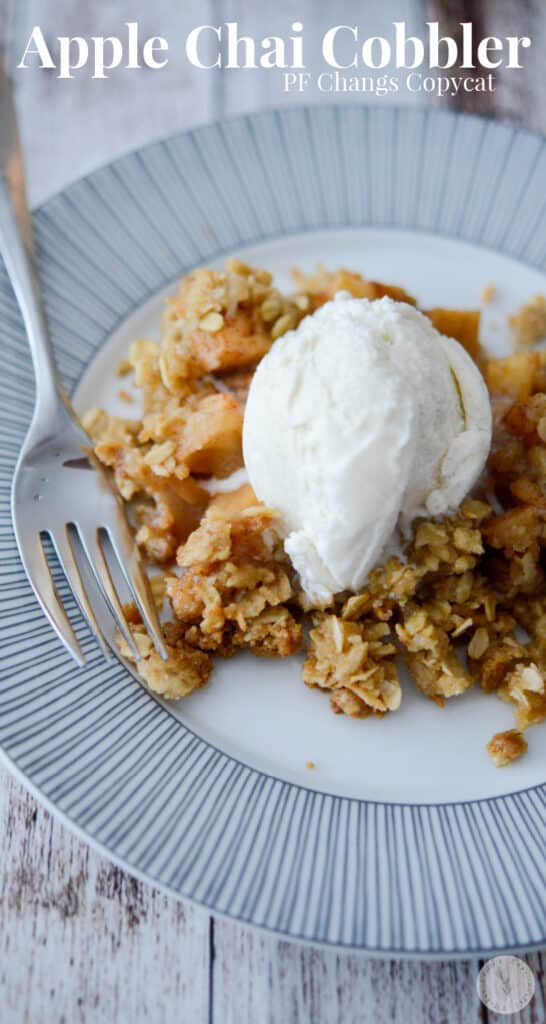 Make PF Changs dessert menu item, Apple Chai Cobbler at home with fresh apples and chai spices; topped with a buttery coconut oat topping.