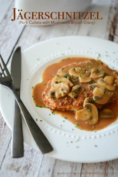 Jagerschnitzel is a German or Austrian dish made of pork or veal cutlets; then topped with a mushroom, brown gravy.
