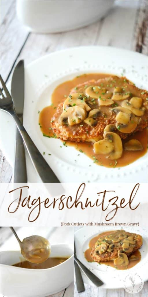 Jägerschnitzel is a German or Austrian dish made of pork or veal cutlets; then topped with a mushroom, brown gravy sauce.