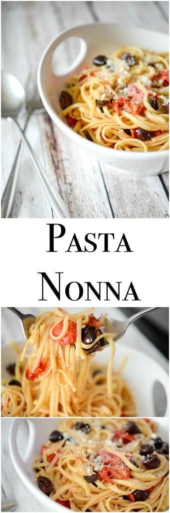 Pasta Nonna, made with Kalamata olives, grape tomatoes and garlic is simple to make and bursting with flavor.