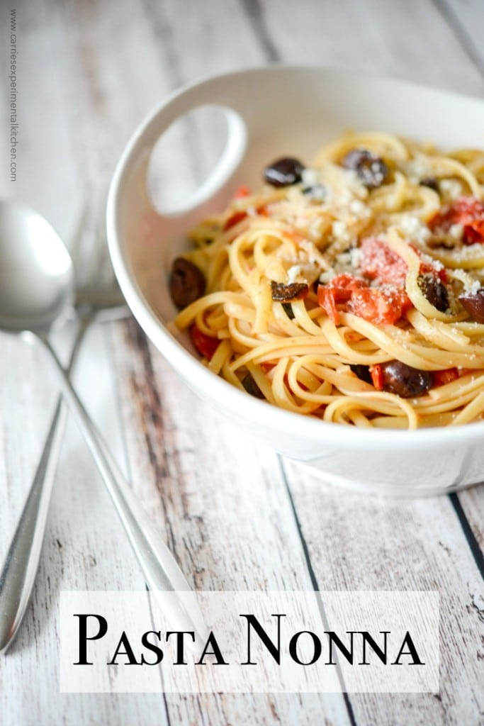 Pasta Nonna, made with your favorite pasta tossed with roasted Kalamata olives, grape tomatoes and garlic is simple to make and bursting with flavor.