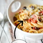 Pasta Nonna, made with your favorite pasta tossed with Kalamata olives, grape tomatoes and garlic is simple to make and bursting with flavor.