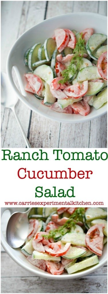 This Ranch Tomato Cucumber Salad is refreshing and makes the perfect last minute salad.