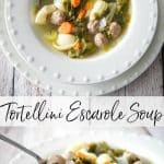 Tortellini Escarole Soup is my variation of Italian Wedding soup. It is so hearty and satisfying; it's more like a stew than a soup!