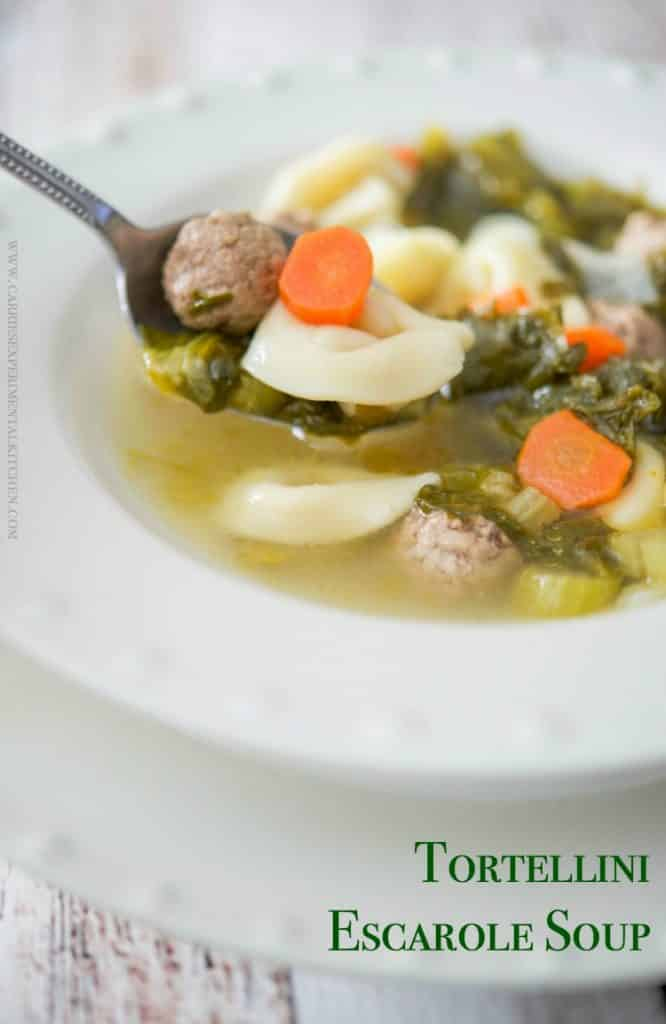 Tortellini Escarole Soup is my variation of Italian Wedding soup and it's so hearty it's more like a stew than a soup.