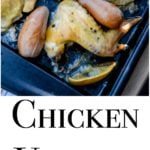 Chicken Vesuvio is a roasted chicken dish with lemons, garlic and baby potatoes and can be made on one pan for easy cleanup.