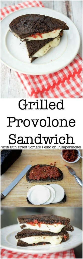 This Grilled Provolone Sandwich with Sun Dried Tomato Pesto on Pumpernickel is deliciously flavorful and makes the perfect lunch.