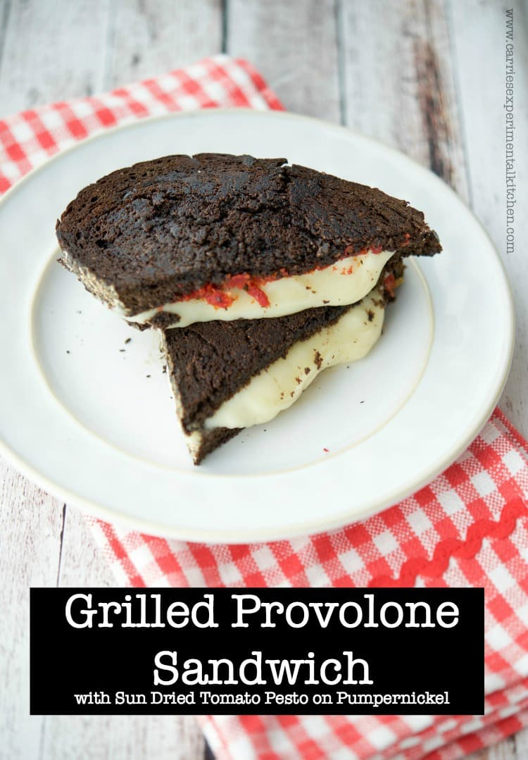 Grilled Provolone Sandwich with Sun Dried Tomato Pesto on Pumpernickel ...