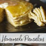 Never make pancake mix from a box mix for breakfast again when Homemade Pancakes taste so much better. Add your favorite toppings or mix them in the batter.