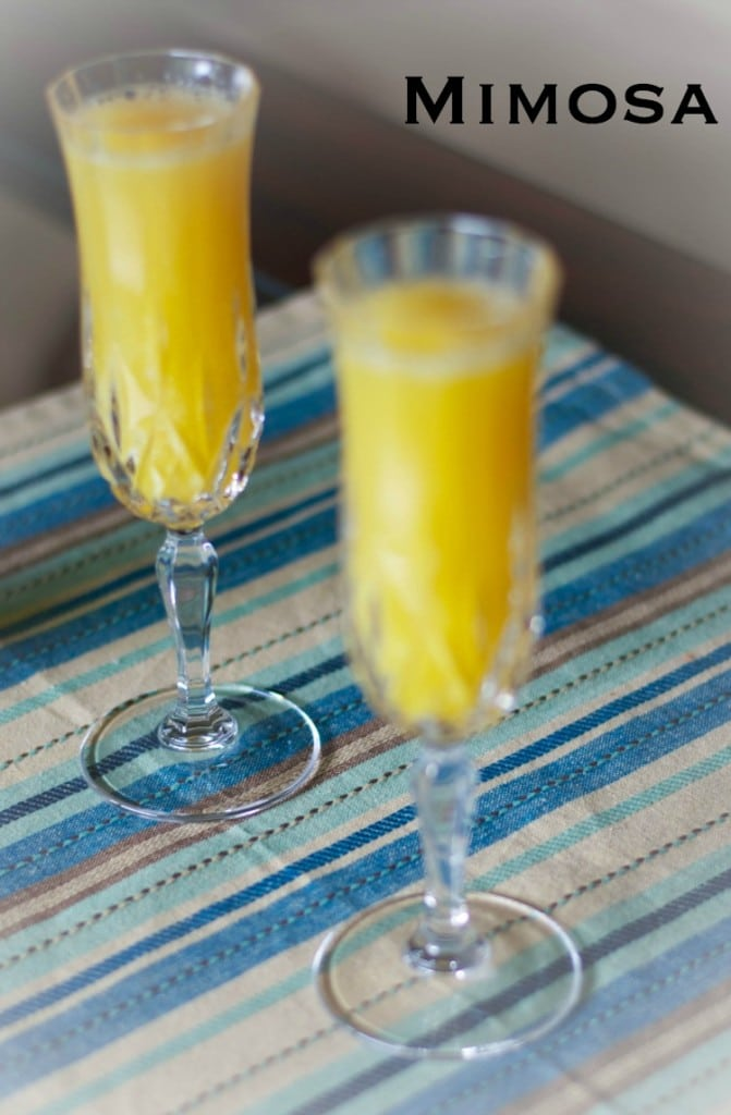 Champagne and orange juice make up this simple Mimosa perfect for weekend brunch.