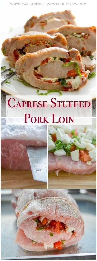 Tender center cut pork loin stuffed Caprese style with fresh tomatoes, garlic, basil and mozzarella cheese.
