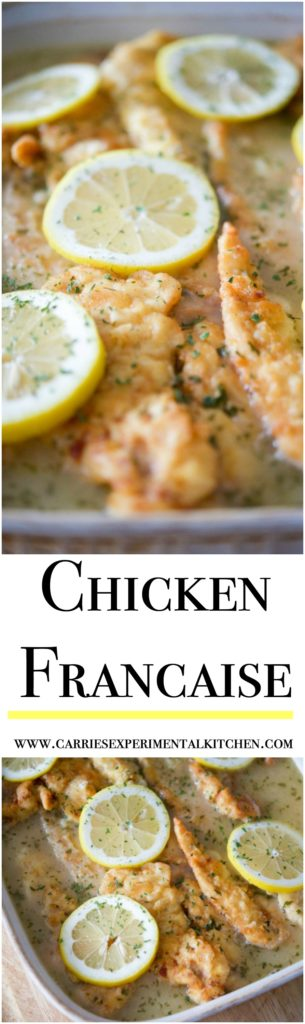 Chicken Francaise made with boneless chicken that's lightly floured and sauteéd in butter; then topped with a light, lemony sauce.