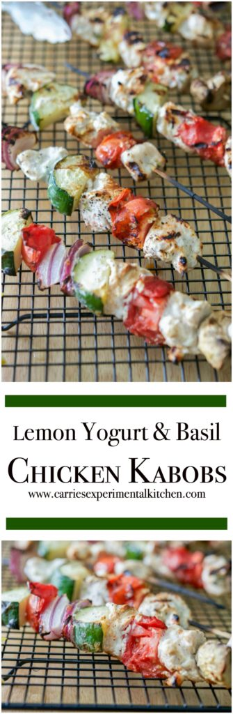 Boneless chicken marinated in Greek yogurt, fresh basil and lemon juice, skewered with fresh garden vegetables; then grilled to perfection.