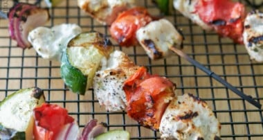 Lemon Yogurt & Basil Grilled Chicken Kebobs