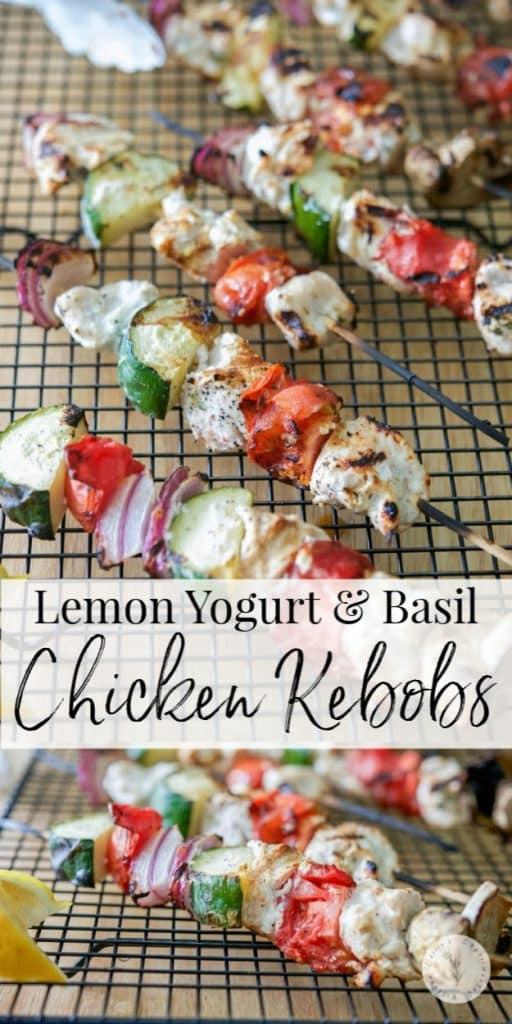 Boneless chicken marinated in Greek yogurt, fresh basil and lemon juice, skewered with fresh garden vegetables; then grilled to perfection.