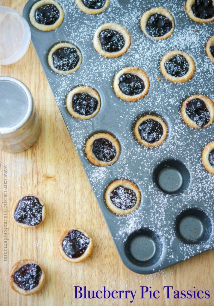 Blueberry Pie Tassies are a simple, small portioned dessert, similar to a cream cheese cookie; then filled with your favorite pie filling.