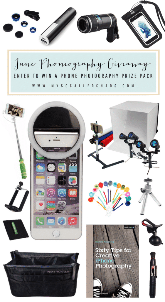 This month we're giving away a big prize pack of goodies* that will help with taking better pictures from your phone in the June Phoneography Giveaway.