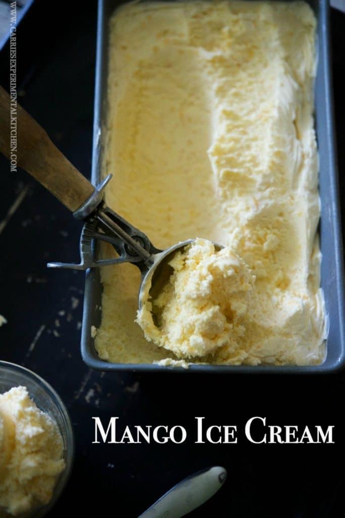 Mango Ice Cream made with sweet mangoes, heavy cream, milk, sugar and vanilla makes the perfect summertime frozen treat.