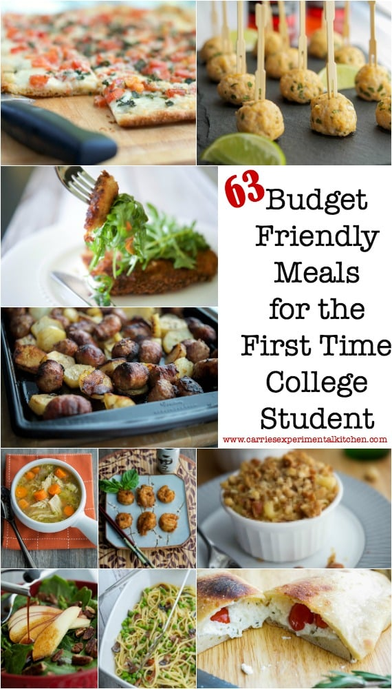 So your child is heading off to college this year, I know what that's like. Our oldest daughter has been living in her own college apartment for the last two years. Here are 63 Budget Friendly Meals for the First Time College Student, plus a list of kitchen equipment and pantry supplies to start your first kitchen. www.carriesexperimentalkitchen.com