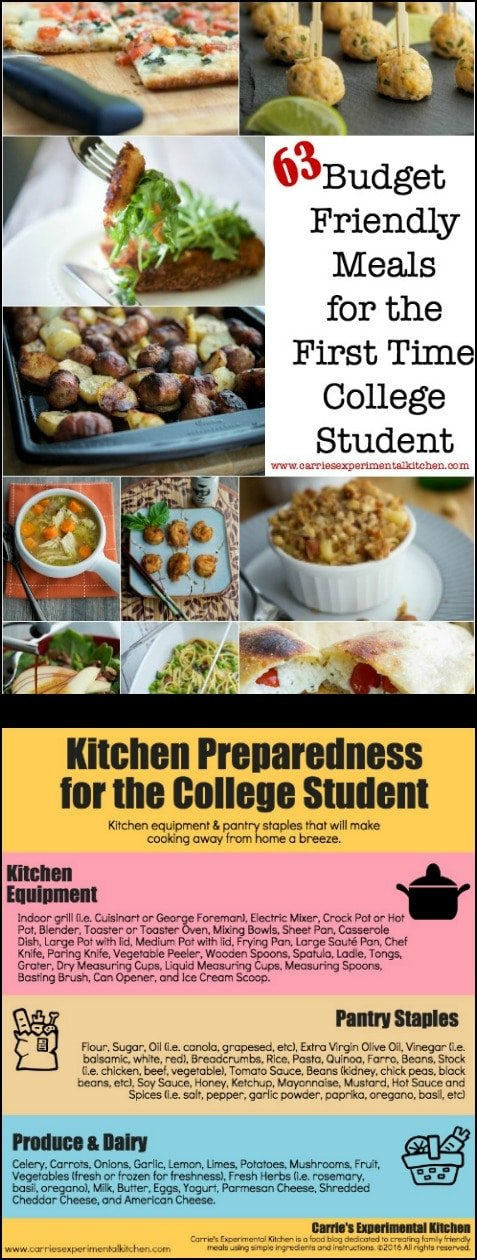 Here are 63 Budget Friendly Meals for the First Time College Student, plus a list of kitchen equipment and pantry supplies to start your first kitchen. #college #student #meals