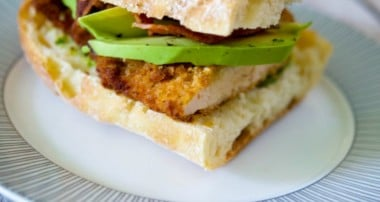 Chicken Cutlet Sandwich with Bacon, Avocado & Pesto