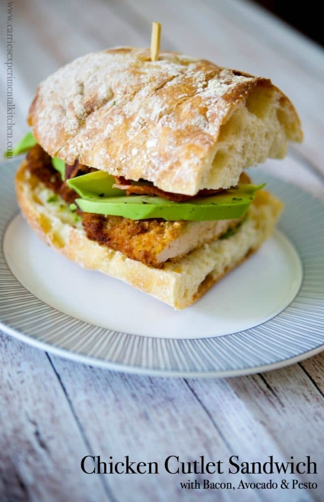 This Chicken Cutlet Sandwich with crispy bacon, ripe avocados and pesto on Ciabatta bread is so hearty, it's perfect for lunch or dinner.