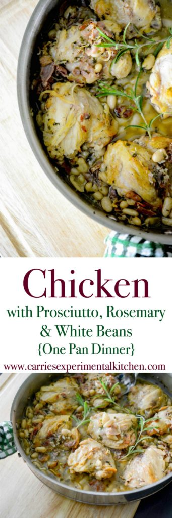 This recipe for Chicken with Prosciutto, Rosemary & White Beans in a white wine sauce is deliciously flavorful and the best part is you can make it all in one pan on top of the stove.