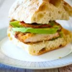 Chicken Cutlet Sandwich with Bacon, Avocado & Pesto on Ciabatta