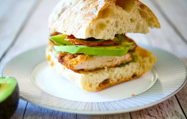 Chicken Cutlet Sandwich with Bacon, Avocado & Pesto on Ciabatta