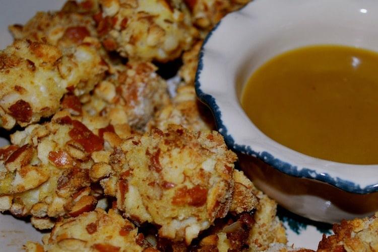 Pretzel Coated Chicken Nuggets with Honey Mustard Sauce