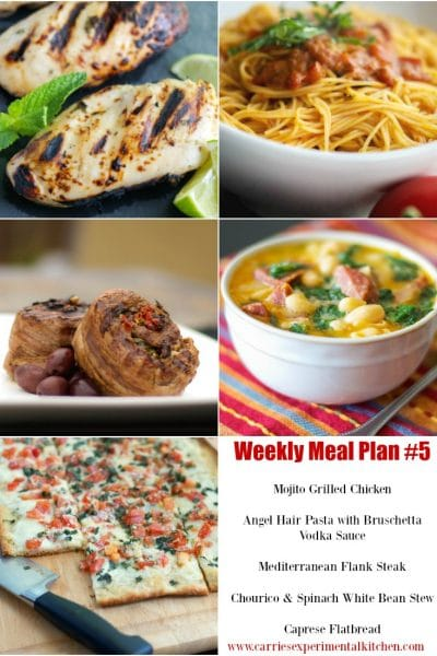 Check out my Weekly Meal Plan #5 for five new dinner recipe ideas to help get you through your hectic Summer weeknights.