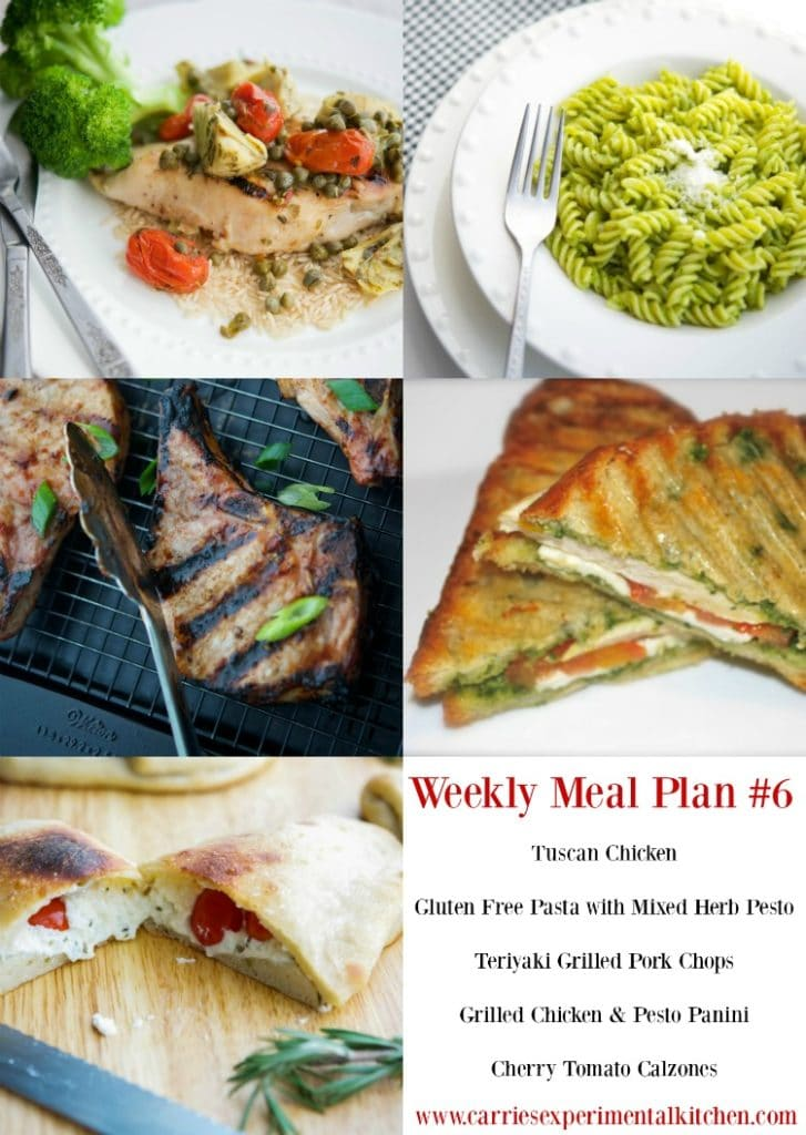 Getting dinner on the table just got that much easier with my Weekly Meal Plan geared towards creating family friendly meals that are easy to make at home using simple ingredients and directions. Check out my Weekly Meal Plan #6 including recipes for Tuscan Chicken, Teriyaki Grilled Pork Chops, Gluten Free Pasta with Herb Pesto, Chicken Pesto Panini and Cherry Tomato Calzones.