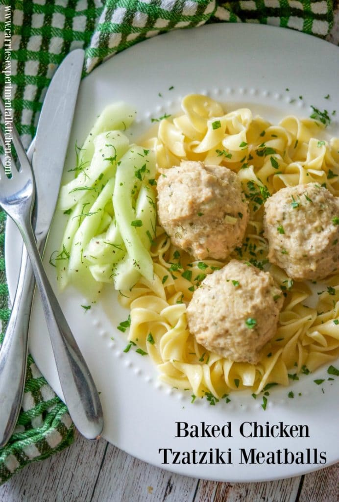 Baked Chicken Tzatziki Meatballs made with ground chicken, Greek ...