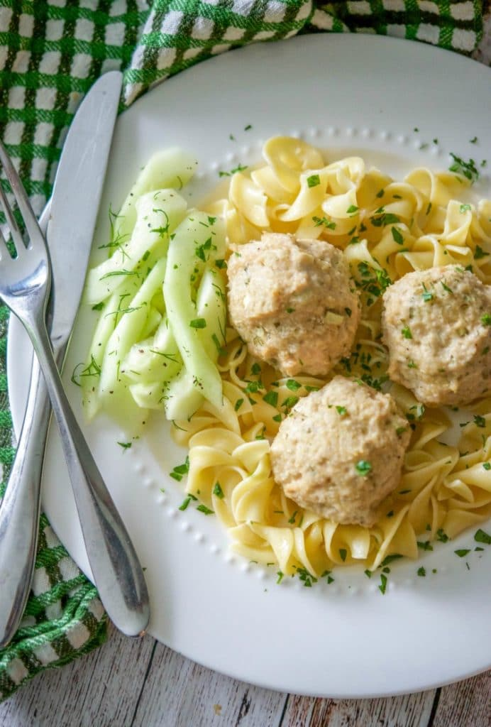 Baked Chicken Tzatziki Meatballs made with ground chicken, Greek yogurt, cucumbers, garlic, mint, and dill are a deliciously healthy dinner alternative.