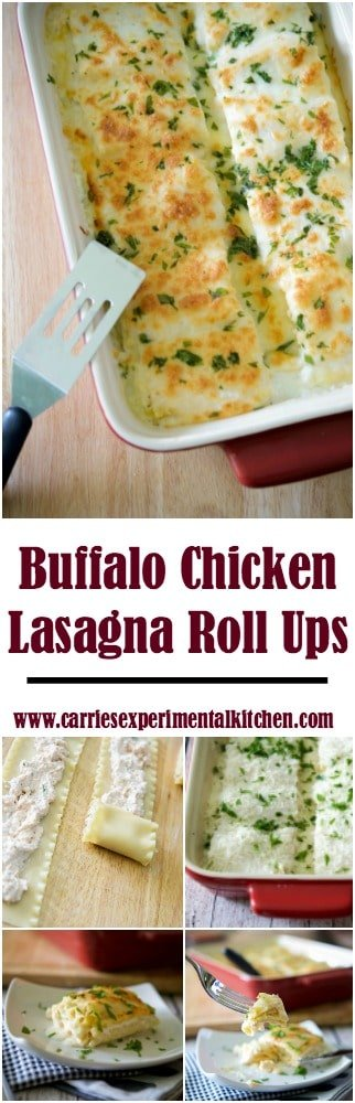 Buffalo Chicken Lasagna Roll Ups made with a filling similar to the infamous Buffalo Chicken Dip, rolled up in pasta; then topped with a simple Bechamel cream sauce.