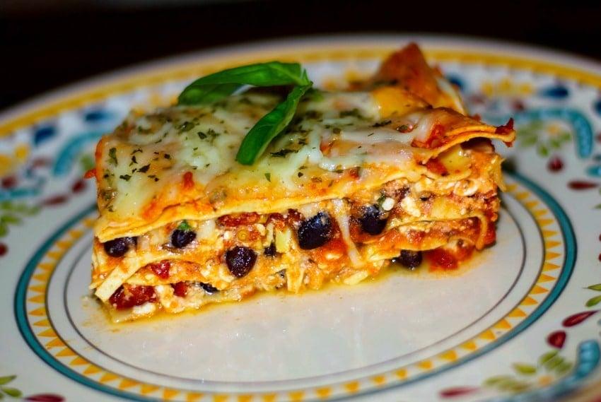 Low Fat Black Bean & Sun Dried Tomato Lasagna