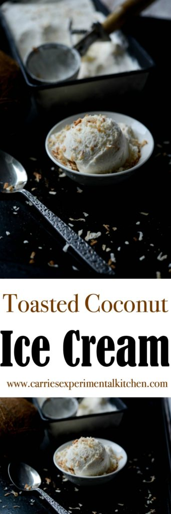 Toasted Coconut Ice Cream made with natural ingredients like coconut milk, heavy cream, sugar, coconut and vanilla extracts and flaky toasted coconut.