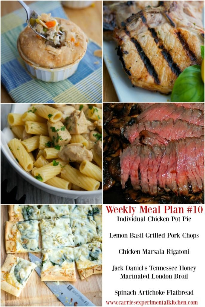 Getting dinner on the table just got that much easier with my Weekly Meal Plan geared towards creating family friendly meals that are easy to make at home using simple ingredients and directions. Check out Weekly Meal Plan #10 including recipes for Individual Chicken Pot Pie, Lemon Basil Grilled Pork Chops, Chicken Marsala Rigatoni, Jack Daniel's Tennessee Honey Marinated London Broil and Spinach Artichoke Flatbread.