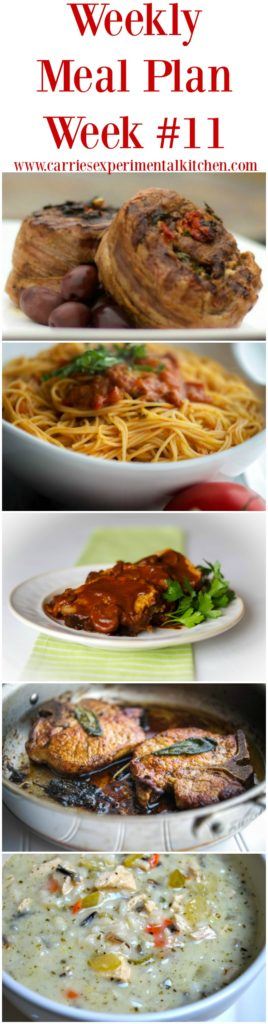 Weekly Meal Plan #11 including recipes for Mediterranean Stuffed Flank Steak plus other menu ideas to celebrate Labor Day, Crock Pot Meatloaf, Angel Hair Pasta with Bruschetta Vodka Sauce, Brown Butter & Sage Pork Chops and Chicken & Wild Rice Soup.