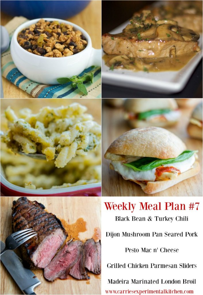 Getting dinner on the table just got that much easier with my Weekly Meal Plan geared towards creating family friendly meals that are easy to make at home using simple ingredients and directions. Check out Weekly Meal Plan #7 including recipes for Black Bean & Turkey Chili, Dijon Mushroom Pan Seared Pork, Pesto Mac n' Cheese, Grilled Chicken Parmesan Sliders and Madeira Marinated London Broil.