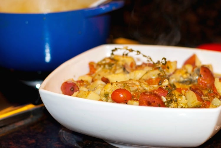 Champagne Braised Chicken with Grape Tomatoes & Capers