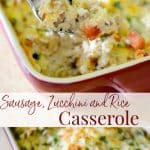 Ground sausage, garden fresh zucchini, tomatoes & garlic combined with rice to make a tasty weeknight casserole the entire family will love.